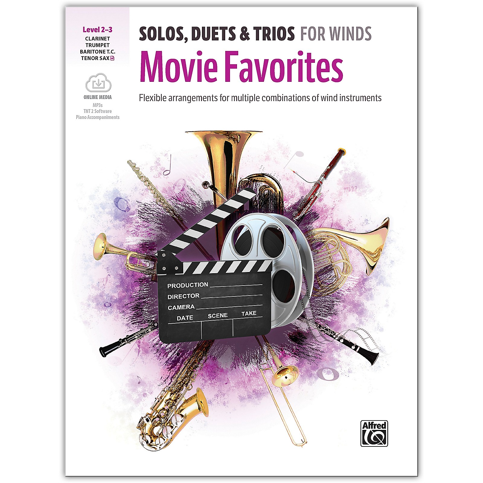 Alfred Solos, Duets & Trios for Winds: Movie Favorites Trumpet, Clarinet, Baritone TC, Tenor Sax 2-3