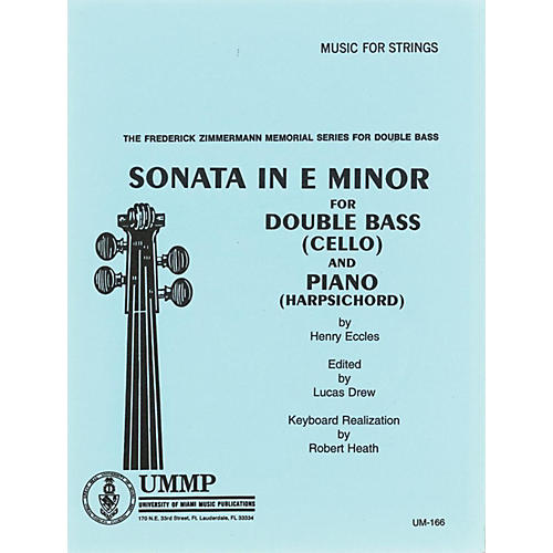 Alfred Sonata # 2 in E Minor for Str Bass By Henry Eccles, Lucas Drew Kybd Realization by Robert Heath Book