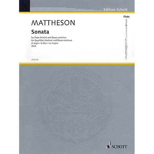 Hal Leonard Sonata A Major For Flute (violin) And Basso Continuo Woodwind Series
