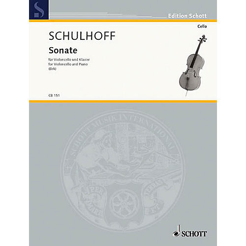 Schott Sonata (Cello and Piano Reduction) Schott Series Composed by Erwin Schulhoff