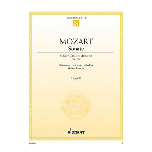 Schott Sonata No. 10 in C Major, KV 330 Schott Series