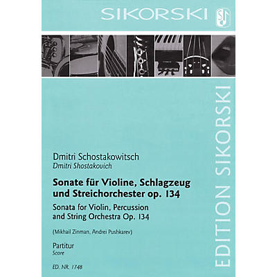 Sikorski Sonata for Violin, Percussion and String Orchestra, Op. 134 Score by Shostakovich Arranged by Zinman