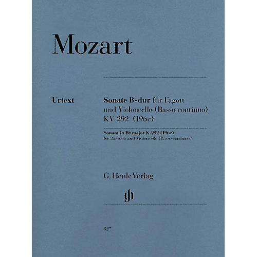 G. Henle Verlag Sonata in B-flat Major, K. 292 (196c) by Wolfgang Amadeus Mozart Arranged by Wolfgang Kostujak