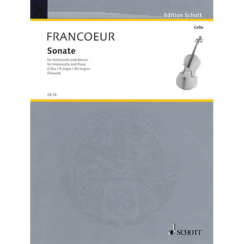 Schott Sonata in E Major (Cello and Piano) Schott Series