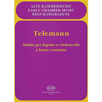 Editio Musica Budapest Sonata in E flat Major for Bassoon or Violoncello and Basso Continuo EMB Series by Georg Philipp Telemann
