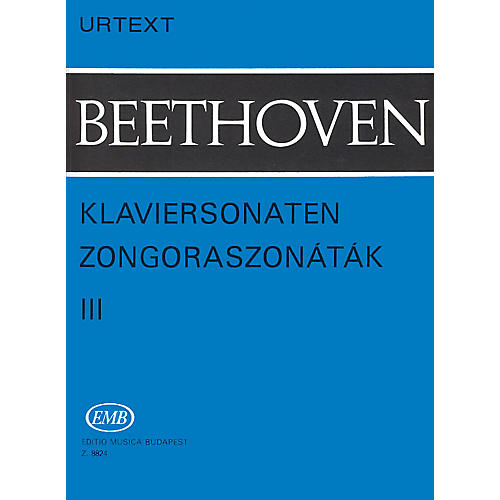 Editio Musica Budapest Sonatas - Volume 3 EMB Series Composed by Ludwig van Beethoven