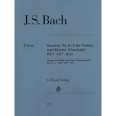 G. Henle Verlag Sonatas for Violin and Piano (Harpsichord) 4-6 BWV 1017-1019 Henle Music Folios Series Softcover