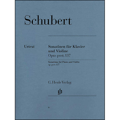 G. Henle Verlag Sonatinas for Piano And Violin Opus Post 137 By Schubert