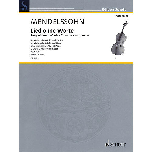 Schott Song Without Words in D Major, Op. 109 (Cello (or Viola) and Piano) Schott Series Softcover