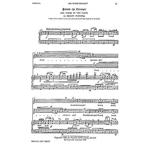 Novello Sound the Trumpet 2PT TREBLE Composed by Henry Purcell