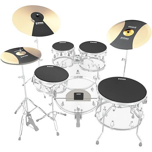 Evans SoundOff Drum Mutes Box Set, Rock 10,12,14,16,22 in.,hi-hat,and cymbal (2) Black