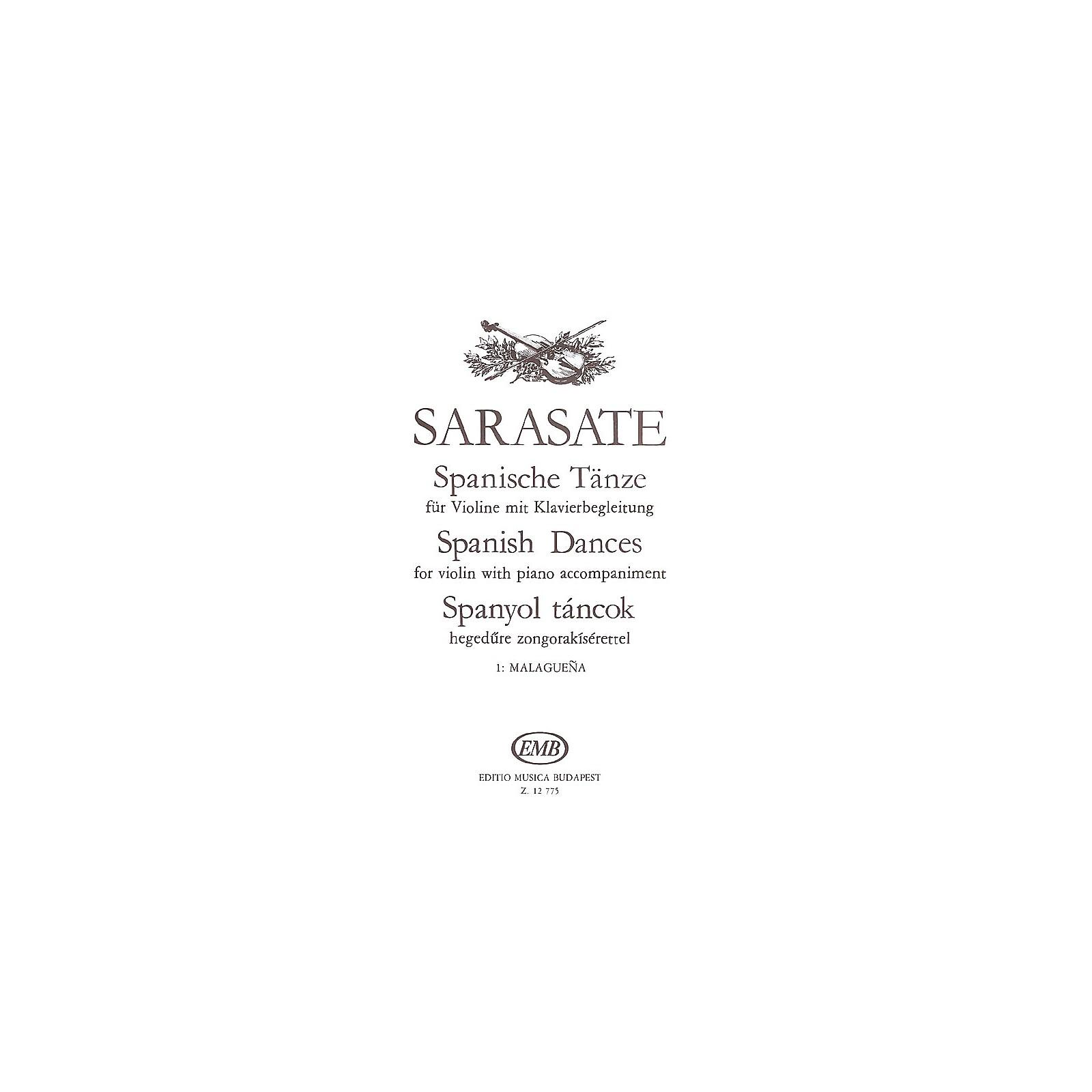 Editio Musica Budapest Spanish Dances - Volume 1 (Malaguena, Op.21, No. 1 - Violin and Piano) EMB Series by Pablo de Sarasate