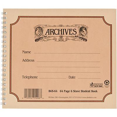 Archives Spiral Bound Manuscript Paper 6 Staves