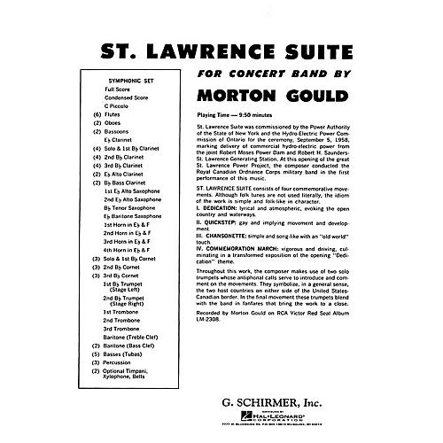 G. Schirmer St. Lawrence Suite (Full Score) Concert Band Composed by Morton Gould