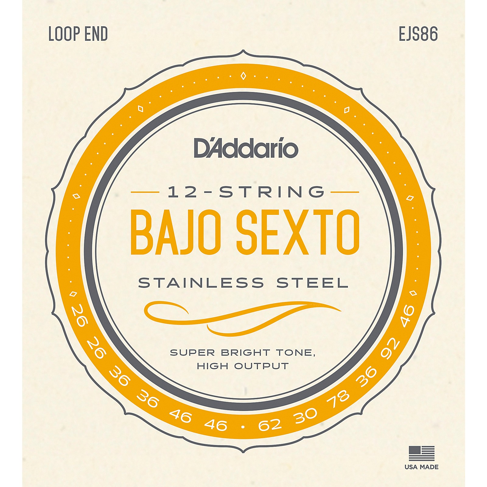 D'Addario Stainless Steel Bajo Sexto String Set