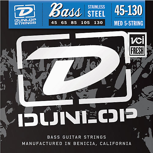Dunlop Stainless Steel Bass Strings - Medium 5-String with 130