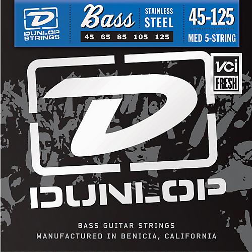 Dunlop Stainless Steel Medium 5 String Bass Strings