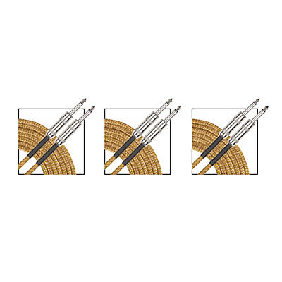 Musician's Gear Standard Instrument Cable Gold Tweed - 20 ft. - 3 Pack