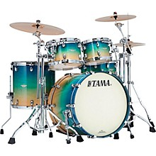 Starclassic Maple Exotix 4-Piece Shell Kit with Chrome Shell Hardware Caribbean Sea Blue Fade Figured