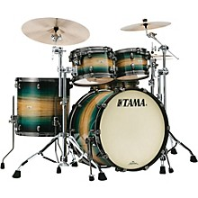 Starclassic Maple Exotix Pacific Walnut 4-Piece Shell Pack with Smoked Black Nickel Hardware and 22 in. Bass Drum Emerald Pacific Walnut Burst