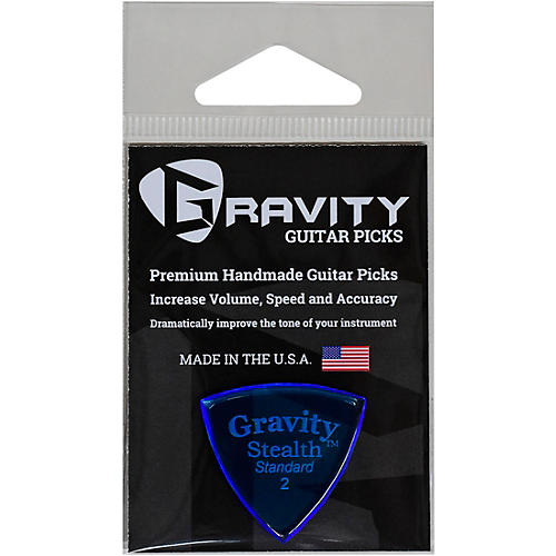 GRAVITY PICKS Stealth Standard Polished Blue Guitar Picks 2.0 mm
