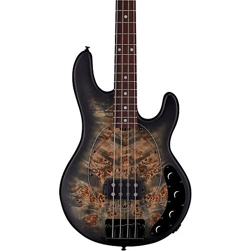 Sterling by Music Man StingRay Ray34 Burl Top Rosewood Fingerboard Electric Bass Transparent Black Satin