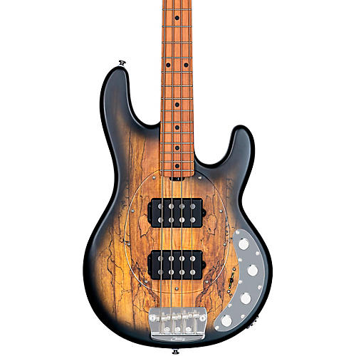 Sterling by Music Man StingRay Ray34HH Spalted Maple Top Maple Fingerboard Electric Bass Natural Burst Satin