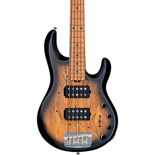Sterling by Music Man StingRay Ray35HH Spalted Maple Top Maple Fingerboard 5-String Electric Bass Natural Burst Satin