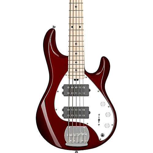 Sterling by Music Man StingRay Ray5HH Maple Fingerboard 5-String Electric Bass Candy Apple Red