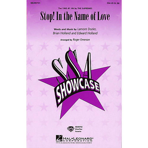 Hal Leonard Stop! In the Name of Love SSA by The Supremes arranged by Roger Emerson