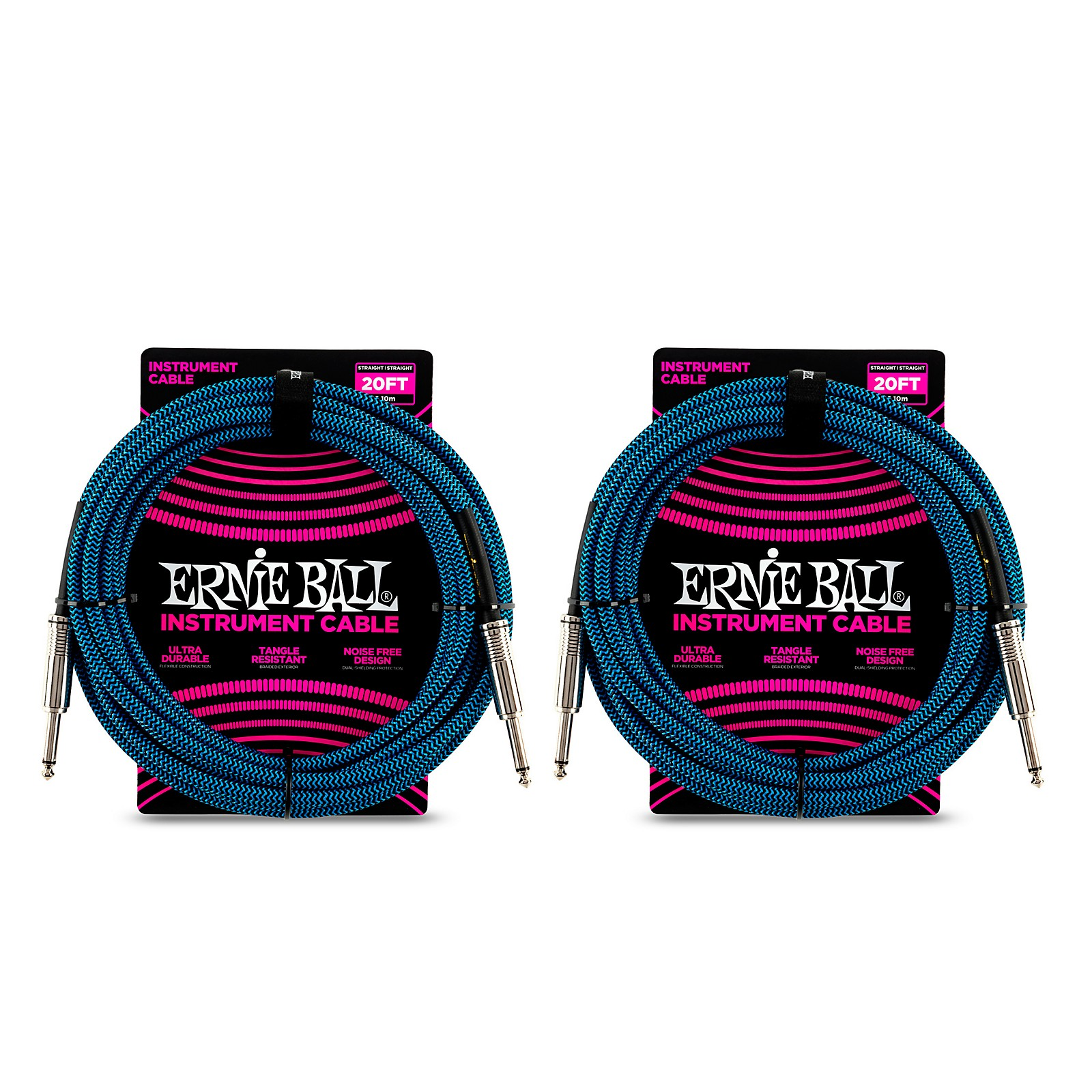 Ernie Ball Straight To Straight Nickel Plated 1/4 Woven 20 ft. Black/Blue Instrument Cable - 2-Pack