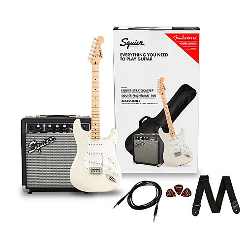 Squier Stratocaster Limited-Edition Electric Guitar Pack with Fender Frontman 10G Amp Olympic White