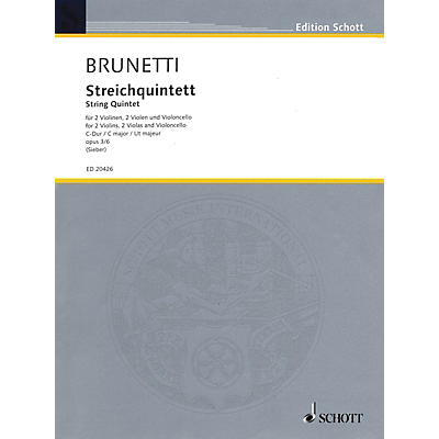Schott String Quintet Op. 3 No. 6 in C Major (Score and Parts) String Series Composed by Gaetano Brunetti