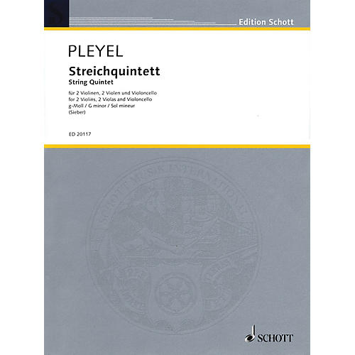 Schott String Quintet in G minor (Score and Parts) String Series Composed by Ignaz Joseph Pleyel