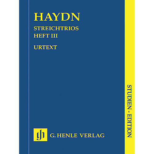 G. Henle Verlag String Trios - Volume 3 (Study Score) Henle Study Scores Series Softcover Composed by Joseph Haydn