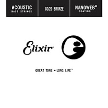 Elixir Strings 80/20 Bronze Single Acoustic Bass String w NANOWEB Coating, Long Scale, Light (.045)