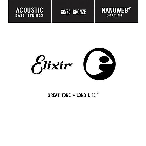 Elixir Strings 80/20 Bronze Single Acoustic Bass String w NANOWEB Coating, Long Scale, Light (.045)