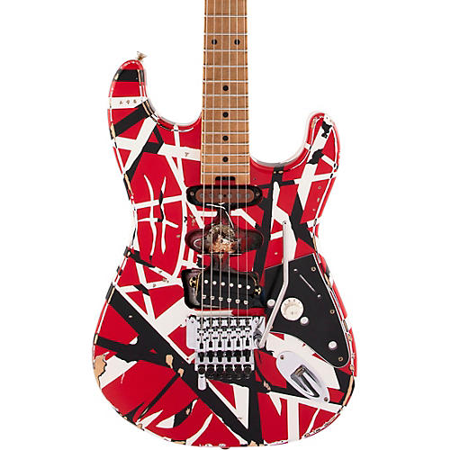 EVH Striped Series Frankie Electric Guitar Red with Black and White Stripes Relic