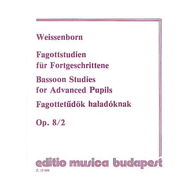 Editio Musica Budapest Studies for Bassoon, Op. 8 - Volume 2 EMB Series by Julius Weissenborn