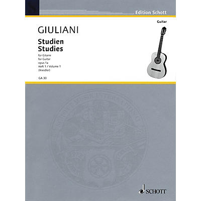 Schott Studies for Guitar, Op. 1a - Volume 1 Schott Series Softcover