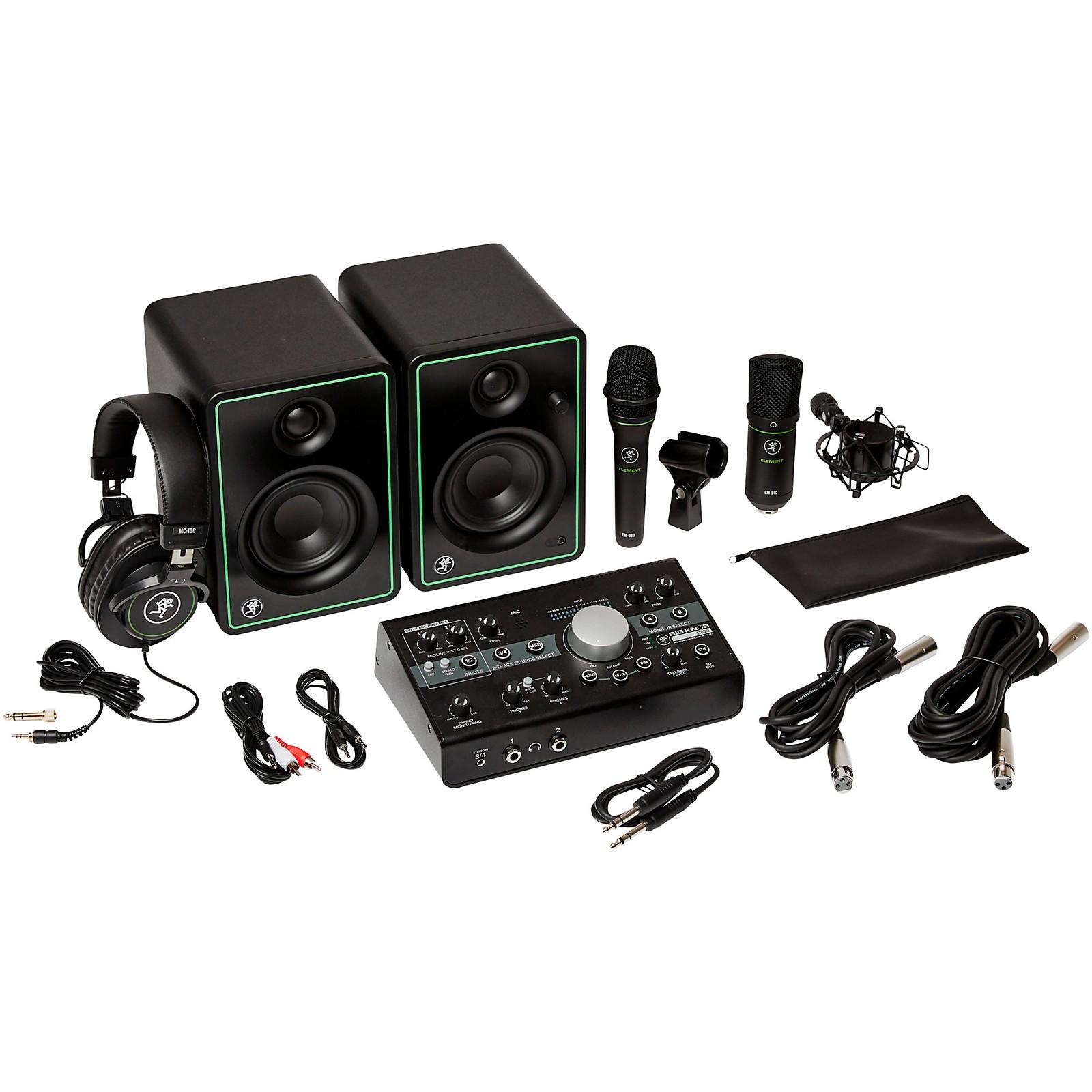 Mackie Studio Bundle with CR3-X Monitors, Big Knob Studio Interface, EM89D Dynamic Mic, EM91C Condenser Mic and MC-100 Headphones