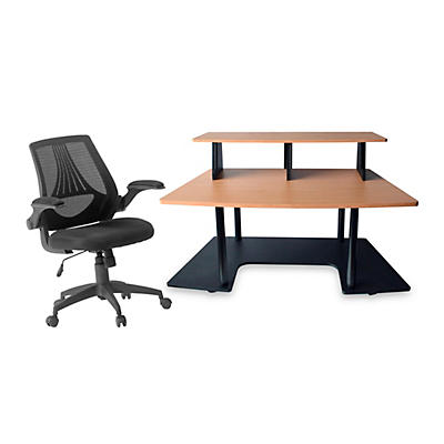 Studio RTA Studio RTA Creation Station Maple and Mesh Managers Office Chair Bundle