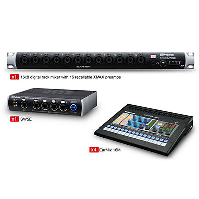 Presonus StudioLive 16 Mobile Stage Mix and Monitor PackageStudioLive 16R Mobile EarMix Monitor and Switcher Package
