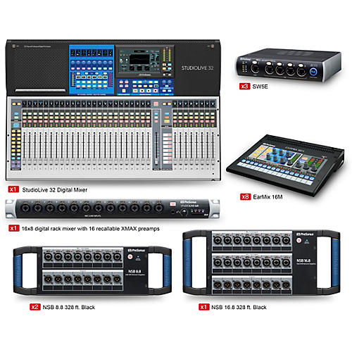 PreSonus StudioLive 32 Large Tour and Stage EarMix Monitor and Switcher Package
