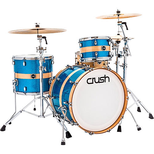 Crush Drums & Percussion Sublime Birch 3-Piece Shell Pack HG Sparkle Blue with Natural Stripe