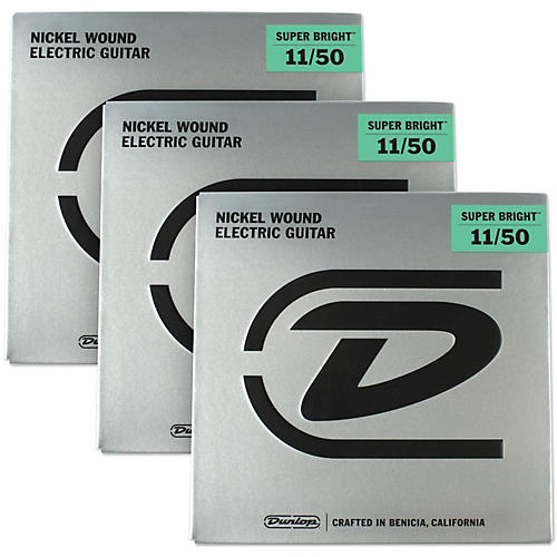 Dunlop Super Bright Medium Heavy Nickel Wound Electric Guitar Strings (11-50) 3-Pack
