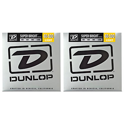Dunlop Super Bright Nickel Light 4-String Bass Guitar Strings (40-100) 2-Pack