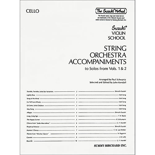 Alfred Suzuki String Orchestra Accompaniments to Solos from Volumes 1 & 2 for Cello Book