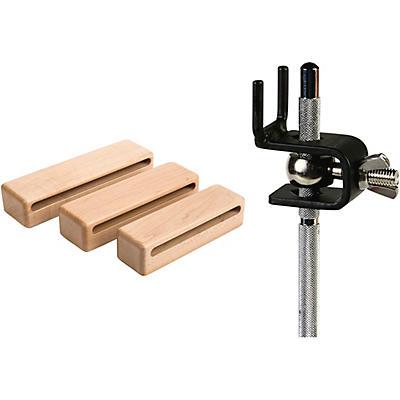 Schlagwerk Symphonic Series Solid HardRock Maple Wood Block Set of 3 with Holders
