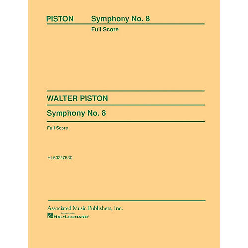 Associated Symphony No. 8 (1965) (Full Score) Study Score Series Composed by Walter Piston